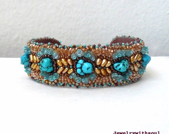 Turquoise cuff bracelet, bead embroidery cuff bracelet, beaded cuff with real turquoise nuggets, apatites and pearls orange brown and blue