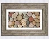 "Family Rocks, River Rocks Art Print, Personalized Gift for Mom, Customizable Sea Shells, Gift for Grandma, Genealogy Art Work, 10"" x 20"""
