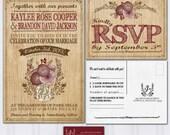 Wood Grain Wedding Invitations, Rustic Mason Jar, Boho Wedding Invitation, Maroon and Pink Wedding, Discount Wedding Invites, SAMPLE