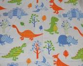 Light Blue Dinosaur Crib or Toddler Bed Fitted Sheet