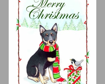 Australian Kelpie 'black & tan' Christmas Cards Box of 16 Cards and 16 Envelopes