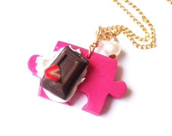 Puzzle Necklace Food Miniature ( chocolate necklace whipped cream polymer clay jewely pink necklace strawberry mini food jewelry )