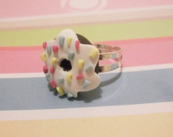 Donut Ring (doughnut ring spirnkles miniature donut food miniature polymer clay jewelry funny jewelry silver adjustable ring kawaii jewelry)