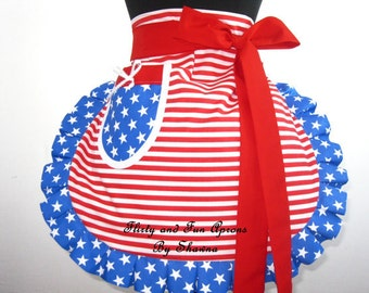 4th of July Patriotic Stars and Stripes American Flag Apron