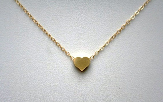 Tiny Gold Heart Necklace, Custom Made
