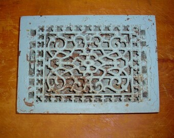 Antique Grate Floor or Wall Heat Register Vent Room Heater Vintage 1890s Fancy Victorian Cast Iron 12 X 8 Hole