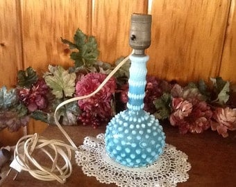 Fenton Electric Lamp Blue & White Opalescent Glass French Hobnail Fabulous Art Deco 1940's