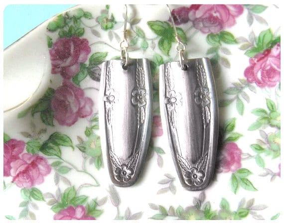 Sophia Spoon Earrings, Upcycled, Repurposed, Spoon Jewelry, Flower Vine