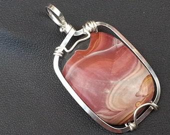 Desert Night Picture Jasper Sterling Silver Wire Wrapped Pendant, Peruvian Rhyolite