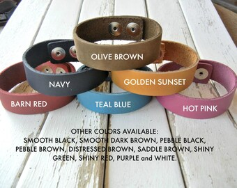 Bulk 25 Pack - SPECIAL ORDER - 1/2 Inch OR 3/4 Inch Wide Genuine  Leather Cuff Bracelet - You Choose Color Mix - Cuff Wristband - Cuff Blank