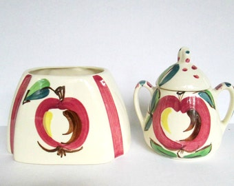 1940s Purinton Slip Ware Set / Vintage Farmhouse Cottage Ceramics