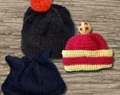 3 DragonballZ Inspired Baby Hats, Son Gohan, Chiaotzu and Baby Trunks