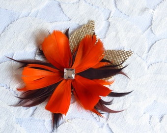 Mod Feather Flower Boutonniere - Mod Wed Collection - Grooms Boutonniere - Groomsmen Bouts - Buttonhole