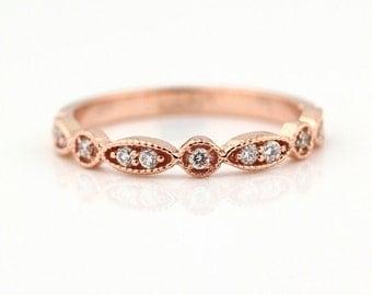 Art Deco Antique Style Diamond Milgrain 14K White/Yellow/Rose  Gold half  Eternity Wedding Band Ring Anniversary Ring, Gem924