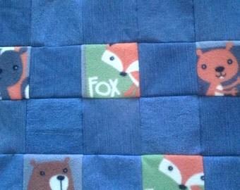 Repurposed Denim Jean and Baby Animal Fleece Print Quilt