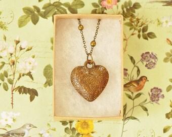 Francesca Antique Bronze Embossed Heart Pendant Necklace