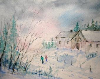 Snow Covered, Print of Original Watercolor Painting, watercolor art, watercolor print, winter watercolor landscape painting, snowy landscape