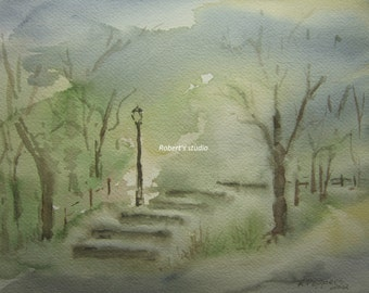 Park Steps Print of Original Watercolor Painting Cityscape Painting Watercolor Art Watercolor Print Landscape City Park Central Park