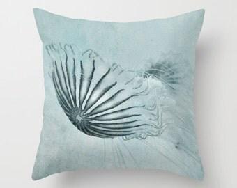 Pillow Cover, Blue Jellyfish Pillow, Blue Pillow, Jellyfish Photography Pillow, Marine Life Pillow, Sea Life Pillow, Jellyfish Bedding