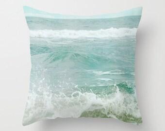 Pillow Cover, Ocean Pillow, Aqua Blue Pillow, Ocean Waves Pillow, Sea Green Pillow, Beach Cottage Decorative Pillow, Beach Ocean Bedding
