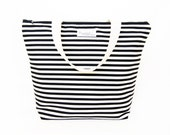 Insulated Tote-Style Lunch Bag with Waterproof Lining - Black and White Stripe (Choose Your Size!)