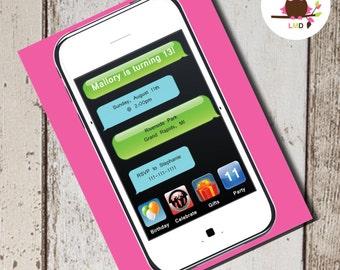 iPHONE iPAD Birthday Party INVITE - Printable Cell Phone Invitation