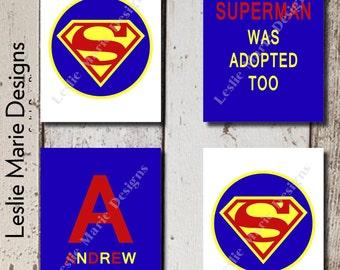 Adoption Gifts   Adoption Sign   Superman Wall Art   Superman was Adopted   Printable Wall Art   Superman Art   Set of 4 Prints