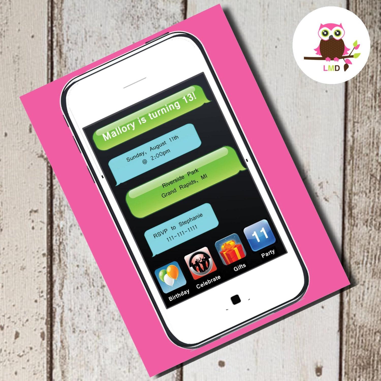 iPHONE iPAD Birthday Party INVITE Printable Cell Phone – Cell Phone Birthday Invitations