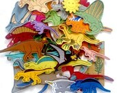 Dinosaurs (big package - 30 pieces) - felt toys with magnetic layer on the back