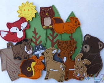 Forest (small package - 15 pieces) - felt toy with magnetic layer on the back
