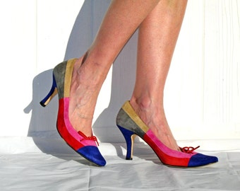 VanEli Shoes * Color Block Shoes * 80s Color Block Heels * Suede Heels * 80s Pumps * Stiletto Heels