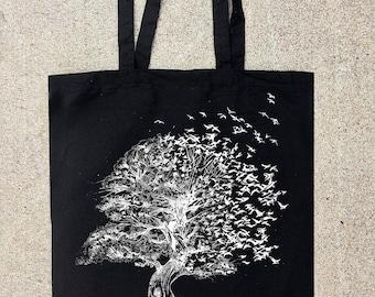 Tree Birds Ink Splatters - Cotton Canvas Tote Bag