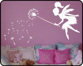 Fairy Dandelion Wall Decal with Wand Vinyl wall art decal sticker- Your Choice of Color