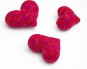 Set of 3 Valentines Hearts Crochet  Fiber Art Love Gift for Her Home Office Decor Amigurumi Miniature Toys Multicolor Red by dodofit on Etsy