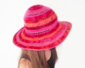 Wide Brimmed Summer Floppy Hat Crochet Cotton Clouchy Brim Accessory Beach Wear Sun Protection Pink Red Yellow Orange by dodofit on Etsy