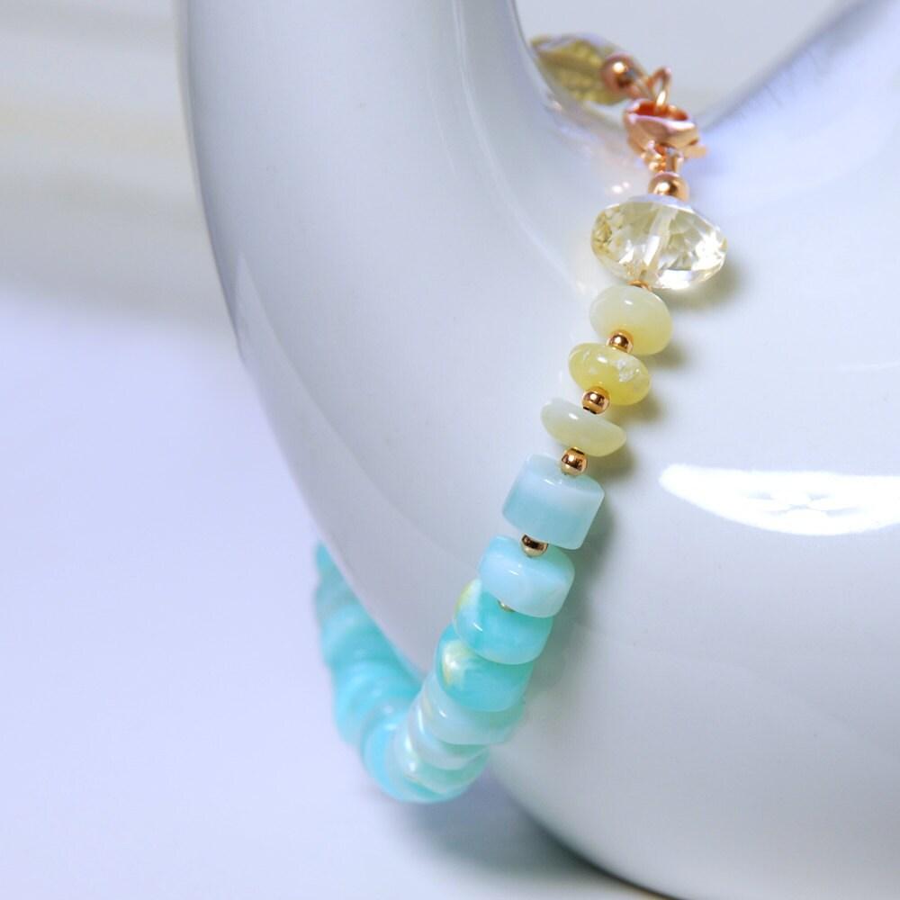 Sky Blue Opal Gold Opal Citrine Rose Gold Filled Bracelet