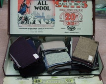 Fabulous Vintage Salesman Sample Case Filled with 319 Wool Samples, Advertising