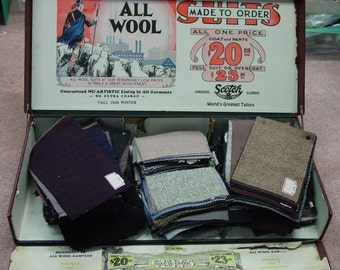 Fabulous Vintage Salesman Sample Case Filled with 319 Wool Samples, Advertising