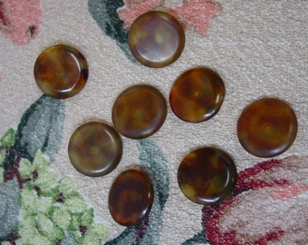 Set of 8 Vintage Faux Tortoise Buttons, Early Plastic, 15/16""