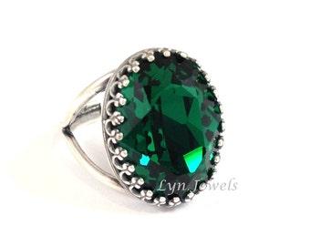 Large Emerald Ring - Antique Silver Oval Dark Green Emerald Swarovski Crystal Statement Cocktail Ring Adjustable Band Size