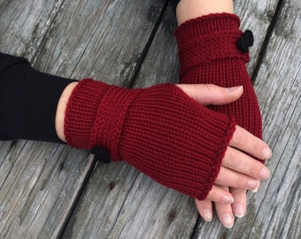 Red Fingerless gloves, Knit Gloves with Bow, Fingerless Gloves, Gloves with Bow, Wrist Warmers, Red Gloves with Bow, Hand Warmers, Texting G