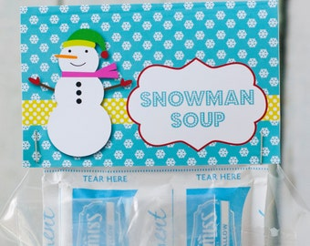 Printable Snowman Soup Treat Bag Topper: Available instantly