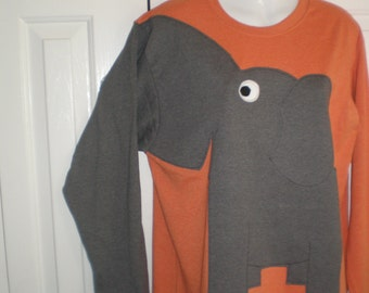 Long sleeve elephant tee shirt, orange heather, adult size extra large, charcoal gray elephant trunk sleeve