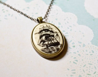 Ship Necklace - Nautical Jewelry - Pirate Ship Necklace - Pendant Necklace - Faux Scrimshaw Jewelry - Sailor - Schooner - Scrimshaw Inspired