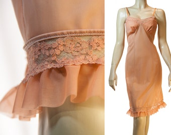 Adorably elegant silky soft and semi sheer terracotta nylon and matching lace and chiffon detail 1960's vintage full slip petticoat - 3177