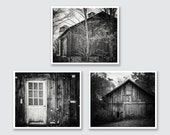 Rustic Barn Wall Gallery, Black and White Barn Print or Canvas Wrap Set, Barn Art, Barnwood Decor, Barn Photography, Country Decor.