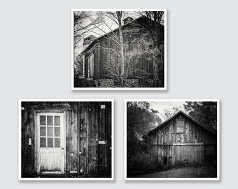 Rustic Barn Wall Gallery, Black and White Barn Print or Canvas Wrap Set, Barn Art, Barnwood Decor, Barn Photography, Country Decor.
