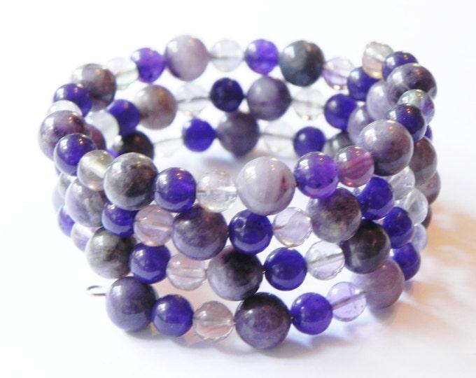 Purple wrap/cuff gemstone bracelet, adjustable with jasper, jade and fluorite, Handmade by Suzanne, memory wire