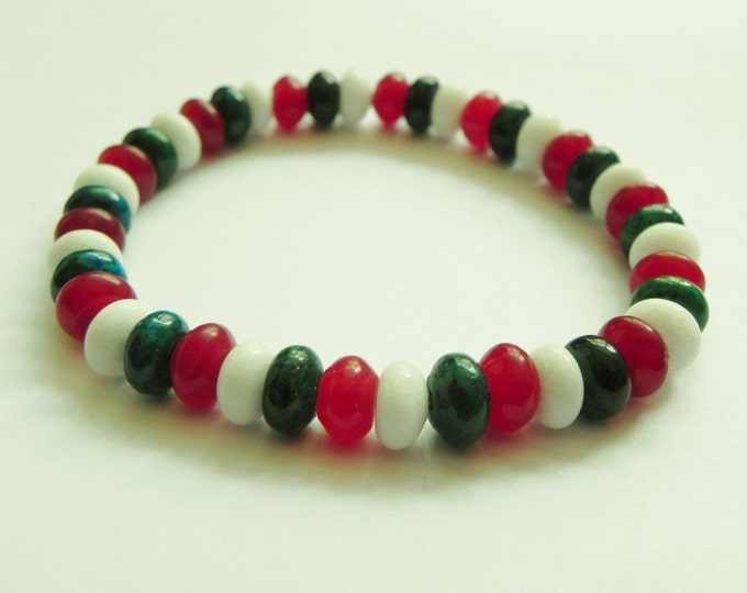 Mens gemstone surfer style bracelet with jade, chalcedony & chrysocolla, red, white, green