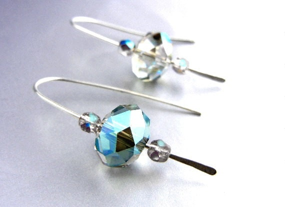 Rainbow crystal earrings with sterling silver hammered wire